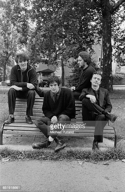 English rock group The Stranglers, Primrose Hill, London, August 1980. Left to right: singer and keyboard player Dave Greenfield, bassist...