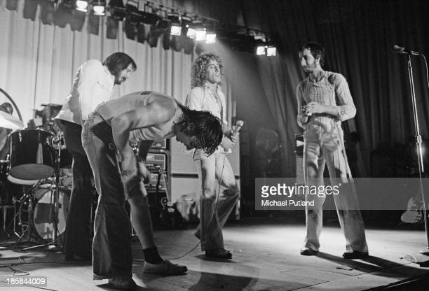 English rock group The Who on stage October 1973 Left to right bassist John Entwistle drummer Keith Moon singer Roger Daltrey and guitarist Pete...