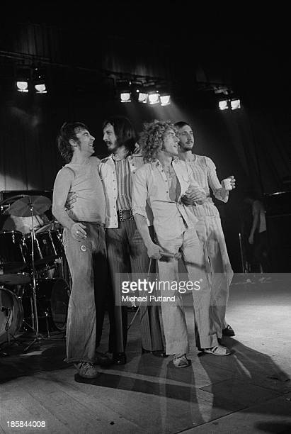 English rock group The Who on stage, October 1973. Left to right: drummer Keith Moon , bassist John Entwistle , singer Roger Daltrey and guitarist...