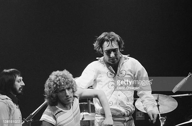 English rock group The Who performing at Shepperton Studios Surrey 25th May 1978 Left to Right John Entwistle Roger Daltrey and Keith Moon The...