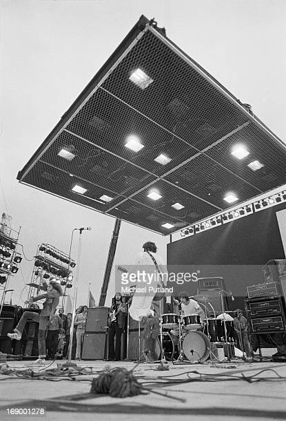 English rock group The Who performing at the Fete de l'Humanite music festival Paris 9th September 1972 Left to right Roger Daltrey John Entwistle...