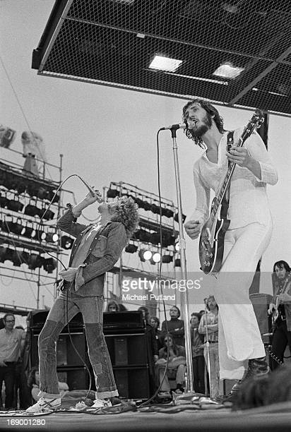 English rock group The Who performing at the Fete de l'Humanite music festival Paris 9th September 1972 Left to right Roger Daltrey Pete Townshend...