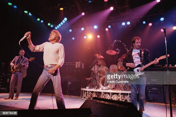 English rock group The Who performing at the Manchester Apollo 1st March 1981 Left to right bassist John Entwistle singer Roger Daltrey drummer...
