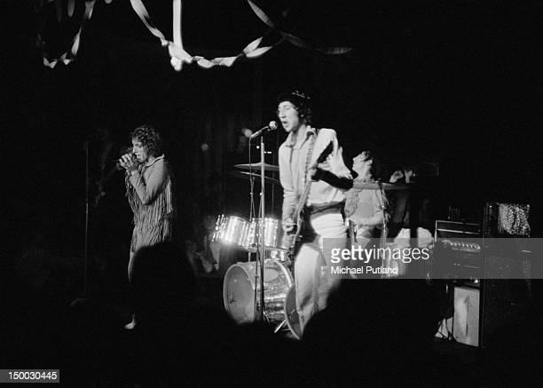 English rock group The Who performing at the Marquee Club for the last time, London, 17th December 1968. Left to right: Roger Daltrey, Pete Townshend...