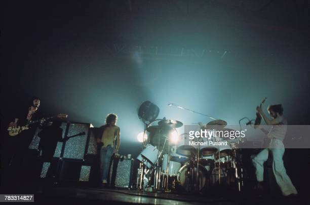 English rock group The Who performing on stage at Wembley Empire Pool London October 1975 Left to right John Entwistle Roger Daltrey Keith Moon and...