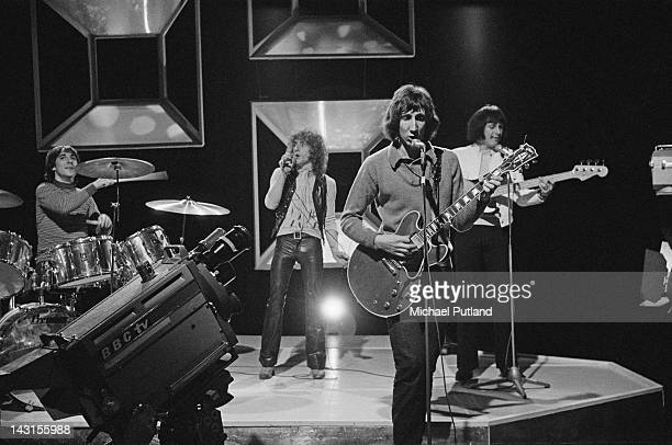 English rock group The Who performing on the the BBC music show 'Top Of The Pops' 24th April 1969 Left to right Keith Moon Roger Daltrey Pete...