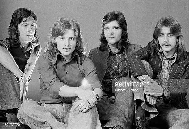 English rock group Trapeze, London, September 1973. Left to right: guitarist and singer Mel Galley , guitarist Rob Kendrick, bassist Pete MacKie and...