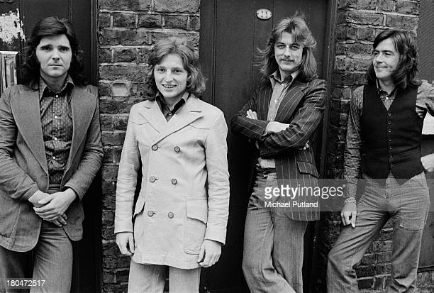 English rock group Trapeze, London, September 1973. Left to right: bassist Pete MacKie, guitarist Rob Kendrick, drummer Dave Holland and guitarist...