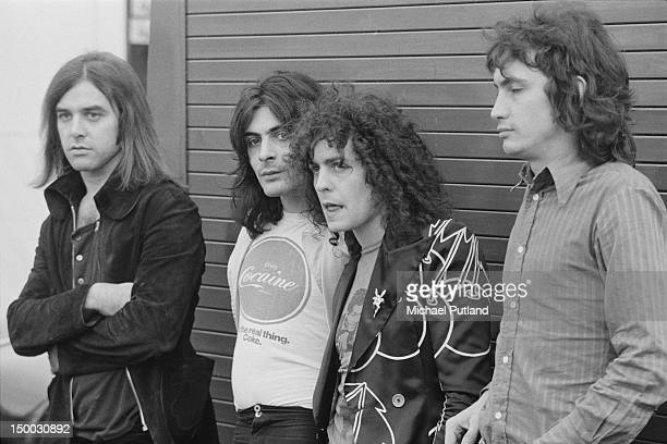 English rock group T-Rex, at the Weeley Festival, Clacton-on-Sea, Essex, 27th August 1971. Left to right: Bill Legend, Mickey Finn , Marc Bolan and...
