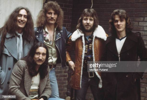 English rock group Uriah Heep posed together in London in 1975 The band members are from left to right Ken Hensley Mick Box David Byron Lee Kerslake...