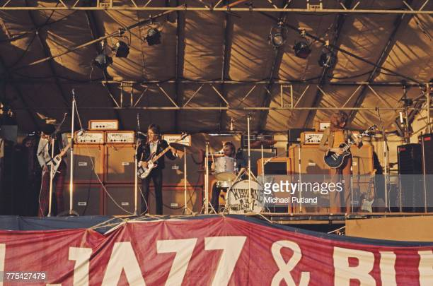 English rock group Wishbone Ash perform live on stage at the 1971 Reading Festival in Reading England on 26th June 1971 The group are from left...