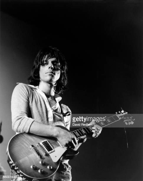 English rock guitarist Jeff Beck of The Jeff Beck Group performs live on stage playing a Gibson Les Paul guitar at the Newport Jazz Festival in...
