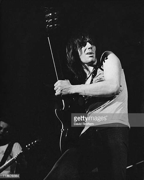 English rock guitarist Jeff Beck performs live on stage with the group Beck, Bogert & Appice in 1973.