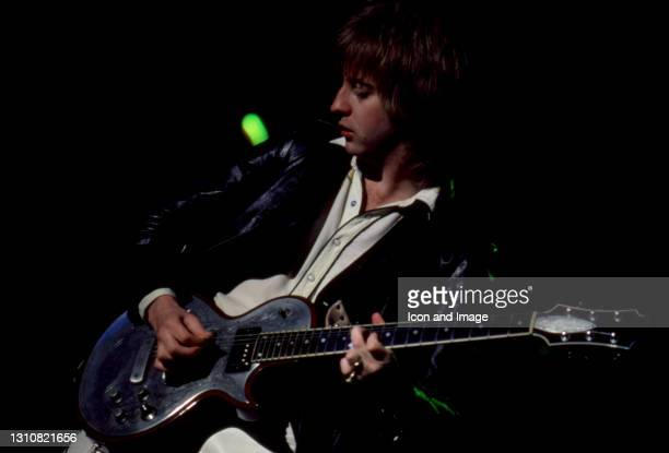 English rock guitarist, songwriter James Honeyman-Scott , of the English-American rock band The Pretenders, plays on stage during The Pretenders II...