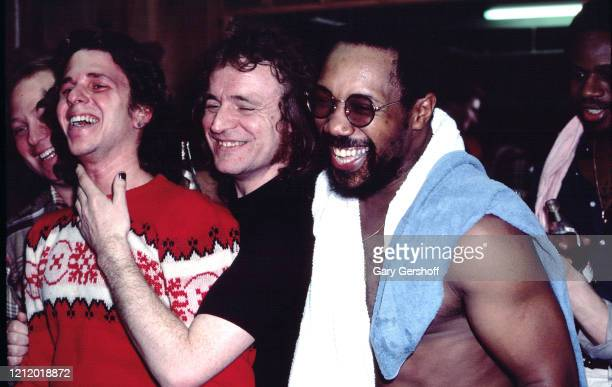 English Rock, Jazz, and Blues musician Clem Clempson , Scottish musician Jack Bruce , and American musicians Billy Cobham and David Sancious pose...