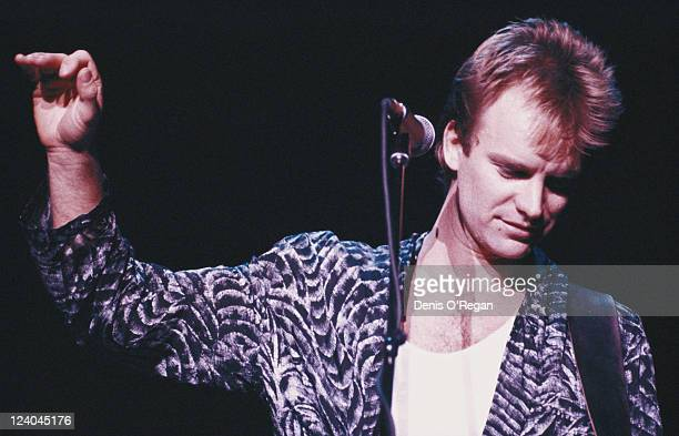 English rock musician and singer Sting in concert with The Police 1983