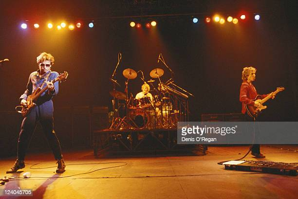 English rock musician and singer Sting in concert with The Police 1979 From left to right Sting drummer Stewart Copeland and guitarist Andy Summers