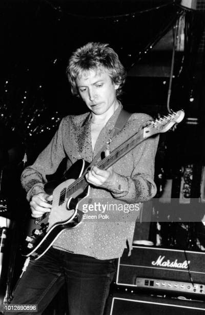 English Rock musician Andy Summers of the group the Police plays guitar as he performs on stage at the Hotel Diplomat New York New York September 1979