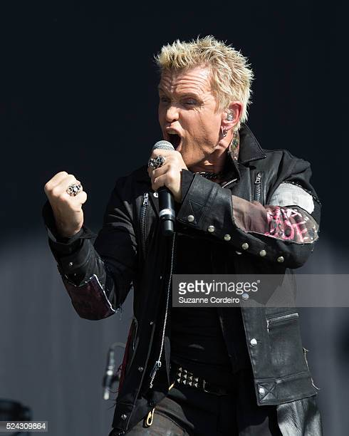 English rock musician Billy Idol performs on the Samsung Galaxy stage at Zilker Park during ACL Music Festival on Friday October 2 2015 in Austin...