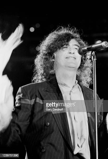 English Rock musician Jimmy Page onstage during his 'Outrider' tour at Nassau Coliseum, Uniondale, New York, October 28, 1988.
