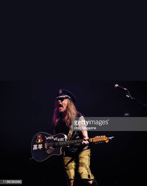 English rock musician Julian Cope performing live on stage at The Roundhouse in London on February 4 2017