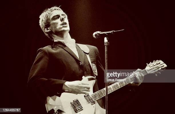 English Rock musician Paul Weller, of the group the Style Council, Wembley Arena, London, 12/7/1985.