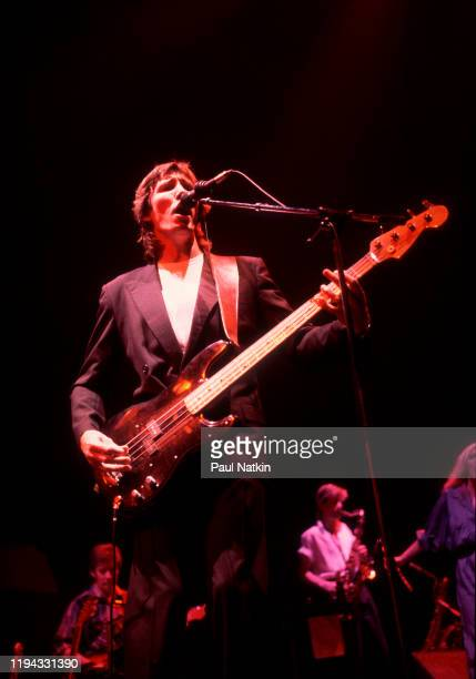 English Rock musician Roger Waters plays bass as he performs onstage at the Rosemont Horizon Rosemont Illinois July 24 1984