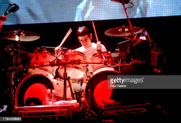 English Rock musician Zak Starkey of the group the Who performs onstage at the Rosemont Horizon Rosemont Illinois August 12 1990