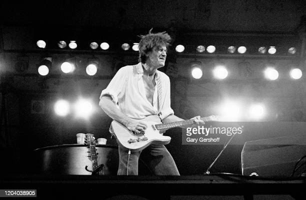 English Rock Pop musician Ray Davies of the group the Kinks plays guitar as he performs onstage during the Dr Pepper Central Park Music Festival New...