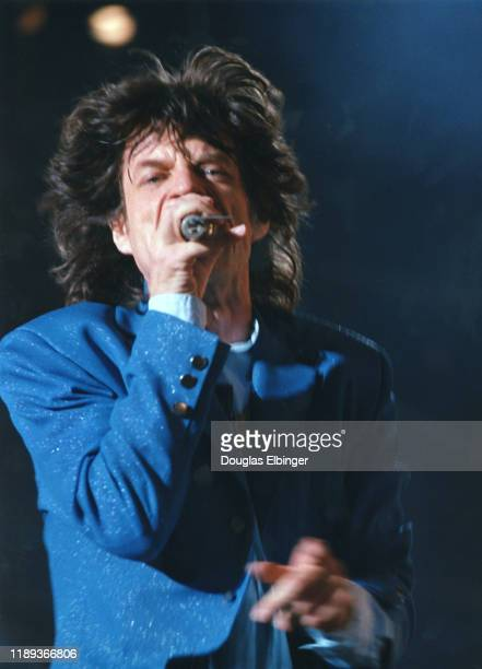 English Rock singer Mick Jagger, of the group the Rollings Stones, performs onstage, during the group's 'Voodoo Lounge Tour,' at Spartan Stadium,...