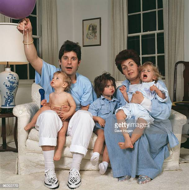English rock singer Ozzy Osbourne and his wife Sharon and their children Aimee Kelly and Jack USA 1987