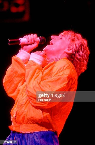 English Rock singer Rod Stewart performs onstage at the Poplar Creek Music Theater Hoffman Estates Illinois July 28 or 29 1984 Stewart performed both...