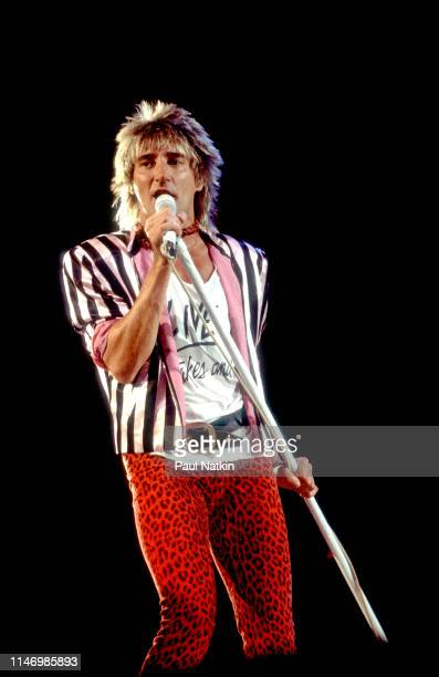 English Rock singer Rod Stewart performs onstage at the Rosemont Horizon Rosemont Illinois January 12 1982