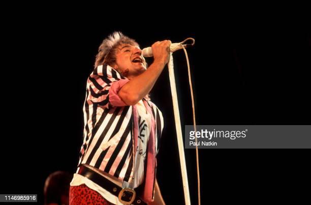 English Rock singer Rod Stewart performs onstage at the Rosemont Horizon Rosemont Illinois January 12 1982