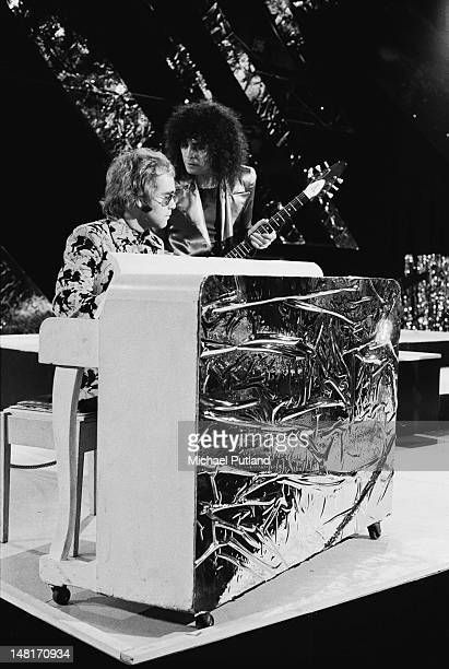 English rock stars Elton John and Marc Bolan performing on the BBC TV music programme 'Top Of The Pops', London, December 1971.