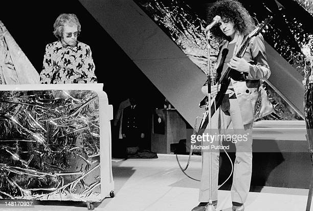 English rock stars Elton John and Marc Bolan performing on the BBC TV music programme 'Top Of The Pops' London December 1971