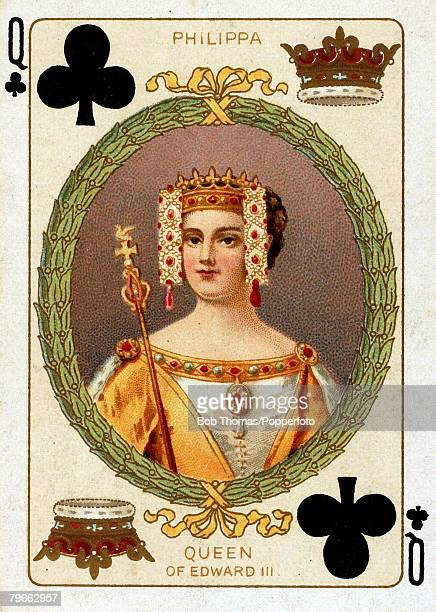 English Royalty Playing Cards produced circa 1897 Illustration shows Queen Philippa wife of King Edward III circa1350