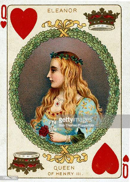 English Royalty Playing Cards produced circa 1897 Illustration shows Queen Eleanor wife of Henry III circa 1340