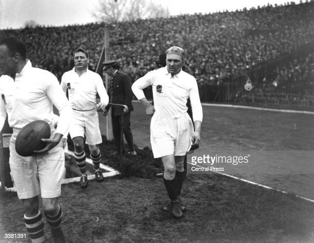 English rugby player William Wavell Wakefield walking onto the pitch for the England versus France match in Paris