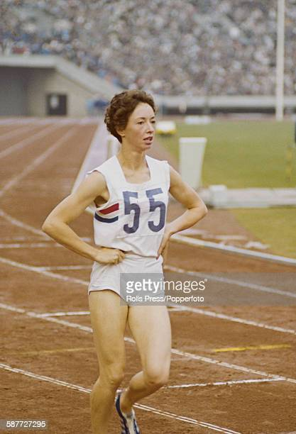 English runner Ann Packer pictured after coming first in the final of the women's 800 metres competition to win an Olympic gold medal at the 1964...