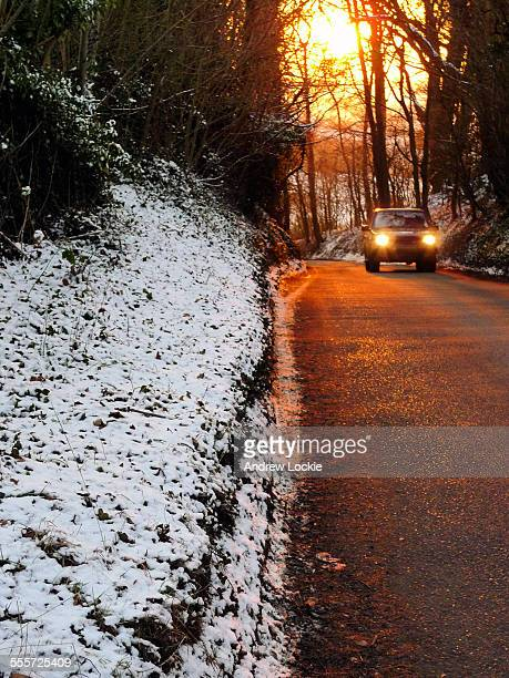 English rural road in winter