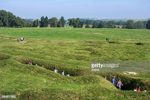 English school children visiting First World War One trenches of the Battle of the Somme at the Canadian BeaumontHamel Newfoundland Memorial France