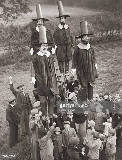 English schoolchildren celebrate Guy Fawkes Night by erecting effigies of the wouldbe terrorist circa 1935 These effigies will be carried through...