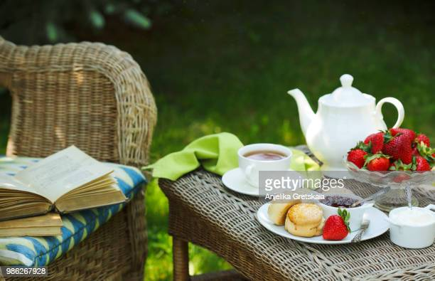 english scones with jam and whipped cream. breakfast in the garden - scone - fotografias e filmes do acervo