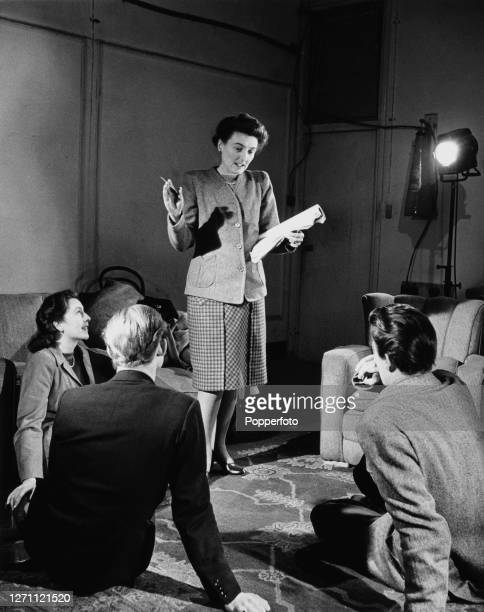 English screenwriter and director Muriel Box explains to film industry trainees the correct way lines should be delivered during a tutorial class...