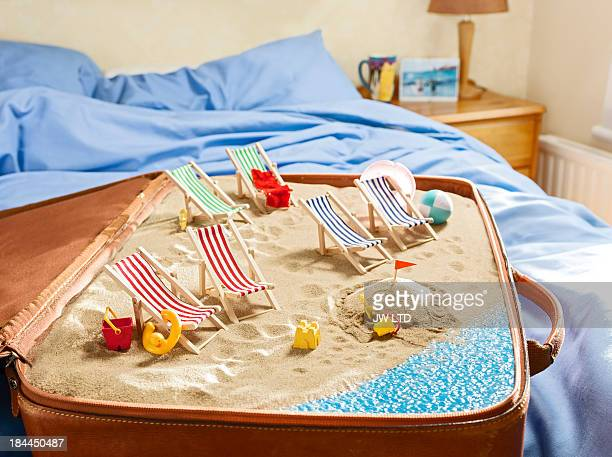 English seaside scene inside a suitcase, bedroom