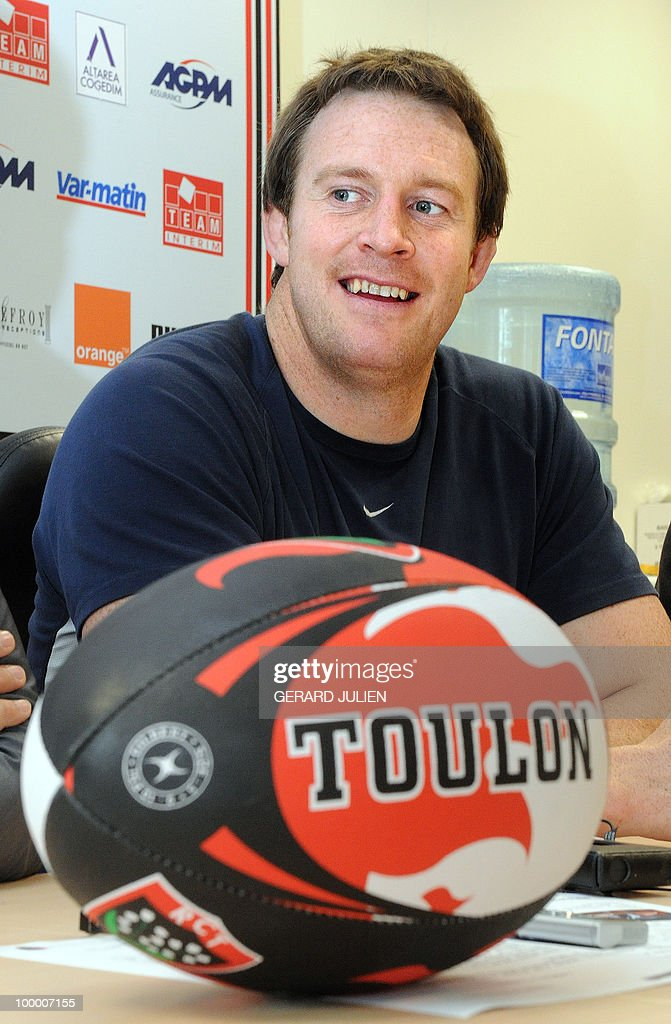 English second row Dean Schofield poses with his new team rugby ball on May 19, 2010 in Toulon, southern France. Schofield has joined the French Club of Toulon for the next two seasons.