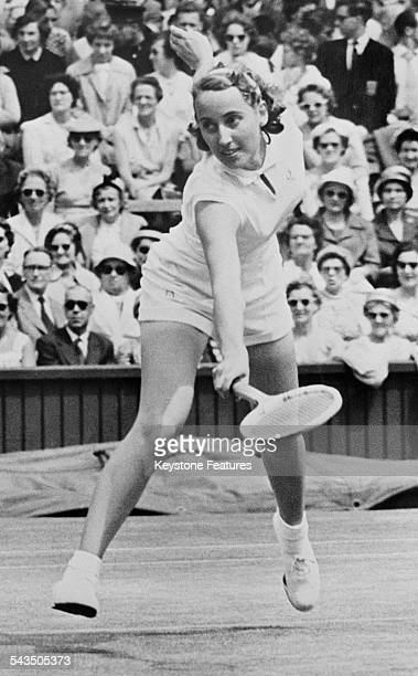 English secondseeded tennis player Angela Mortimer competing in the Ladies' Singles at Wimbledon London 1959 Mortimer was knocked out by Sandra...