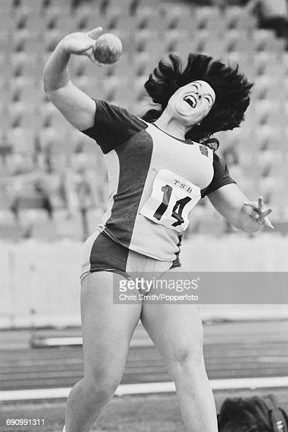 English shot putter Judy Oakes pictured in action during competition in the shot put event at the Women's Amateur Athletic Association TSB National...