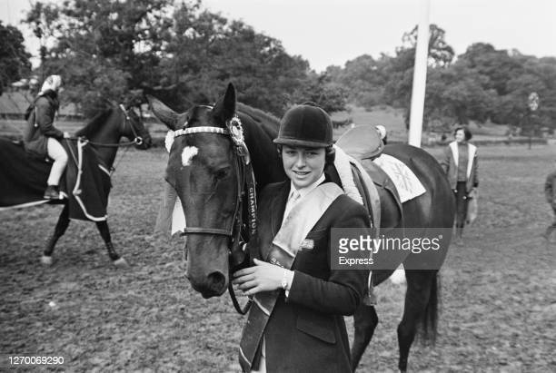 English show-jumper Marion Coakes and her horse Stroller, winners of the Women's World Showjumping Championships at Hickstead in West Sussex,...